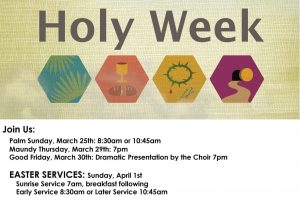 Holy Week Schedule for 2018